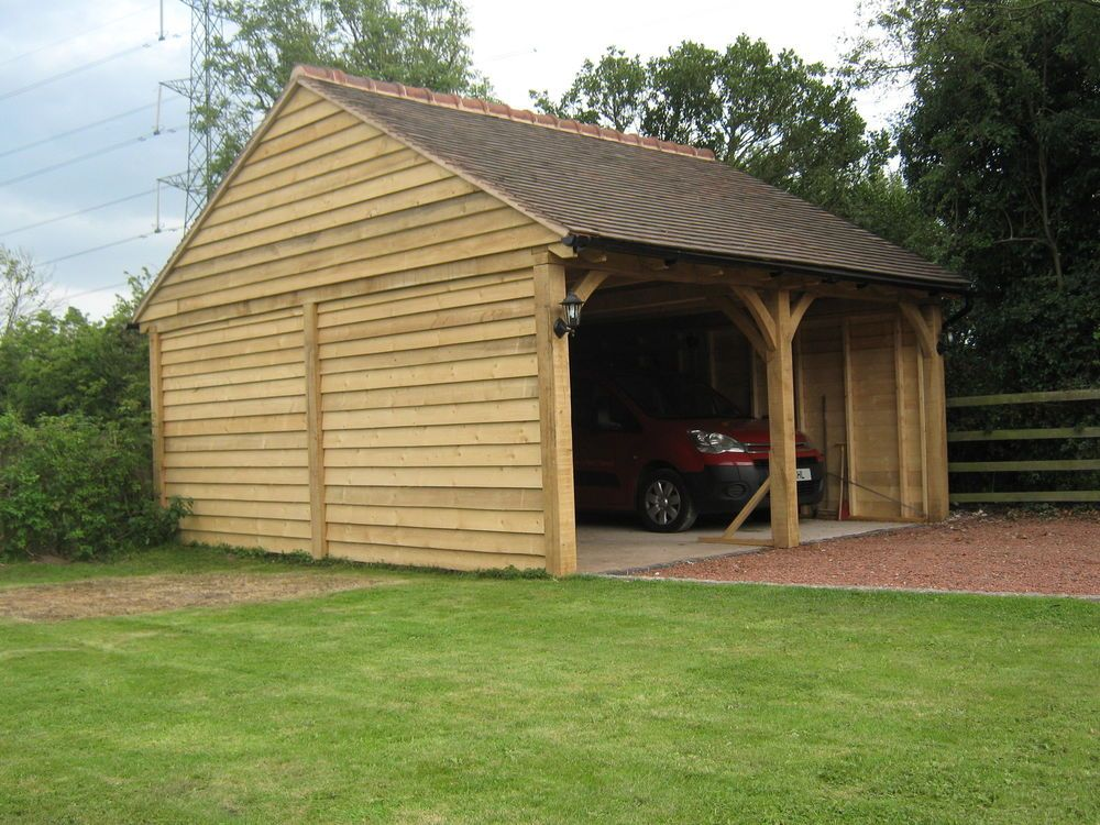 English green oak timber frame garage / carport two bay