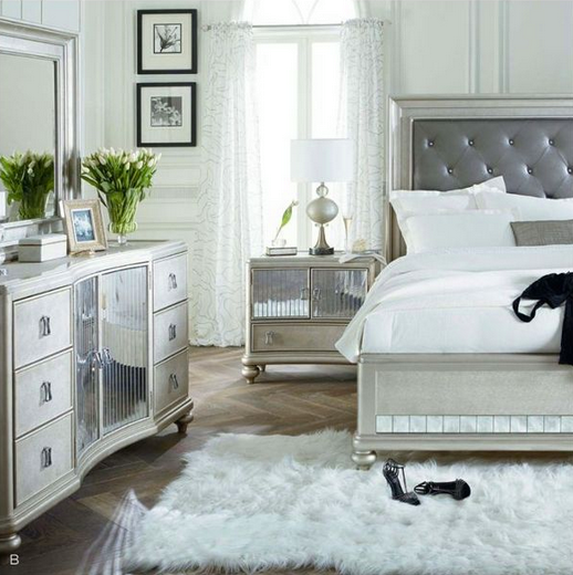Sofia Vergarau0027s Platinum Queen Upholstered Bed Is Elegant Yet Simple!  Refined Perfection. #Bed Amazing Ideas