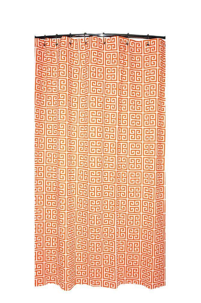 Shower Curtain Greek Key Mandarin Orange And White 72x72