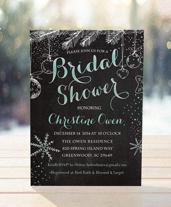 Winter Bridal Shower Invitation, Winter Wedding Shower