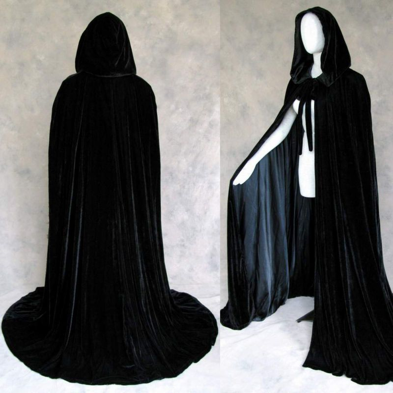 """New Gothic Hooded Velvet Cloak Gothic Wicca Robe Medieval Witchcraft Larp Cape. Velvet made with my personal attention to detail and design! Super sized Medieval hood - 22"""" high by 17"""" deep!"""