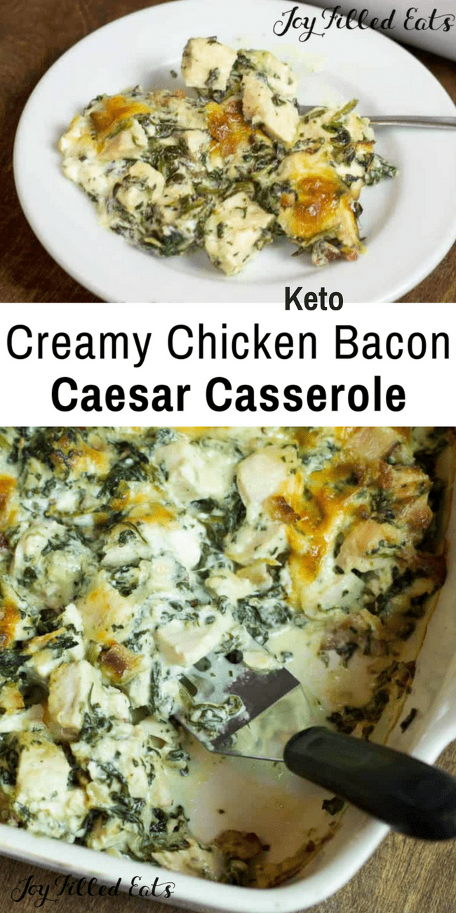 This gluten free, low carb, keto, Chicken Bacon Caesar Casserole is great when you are pressed for