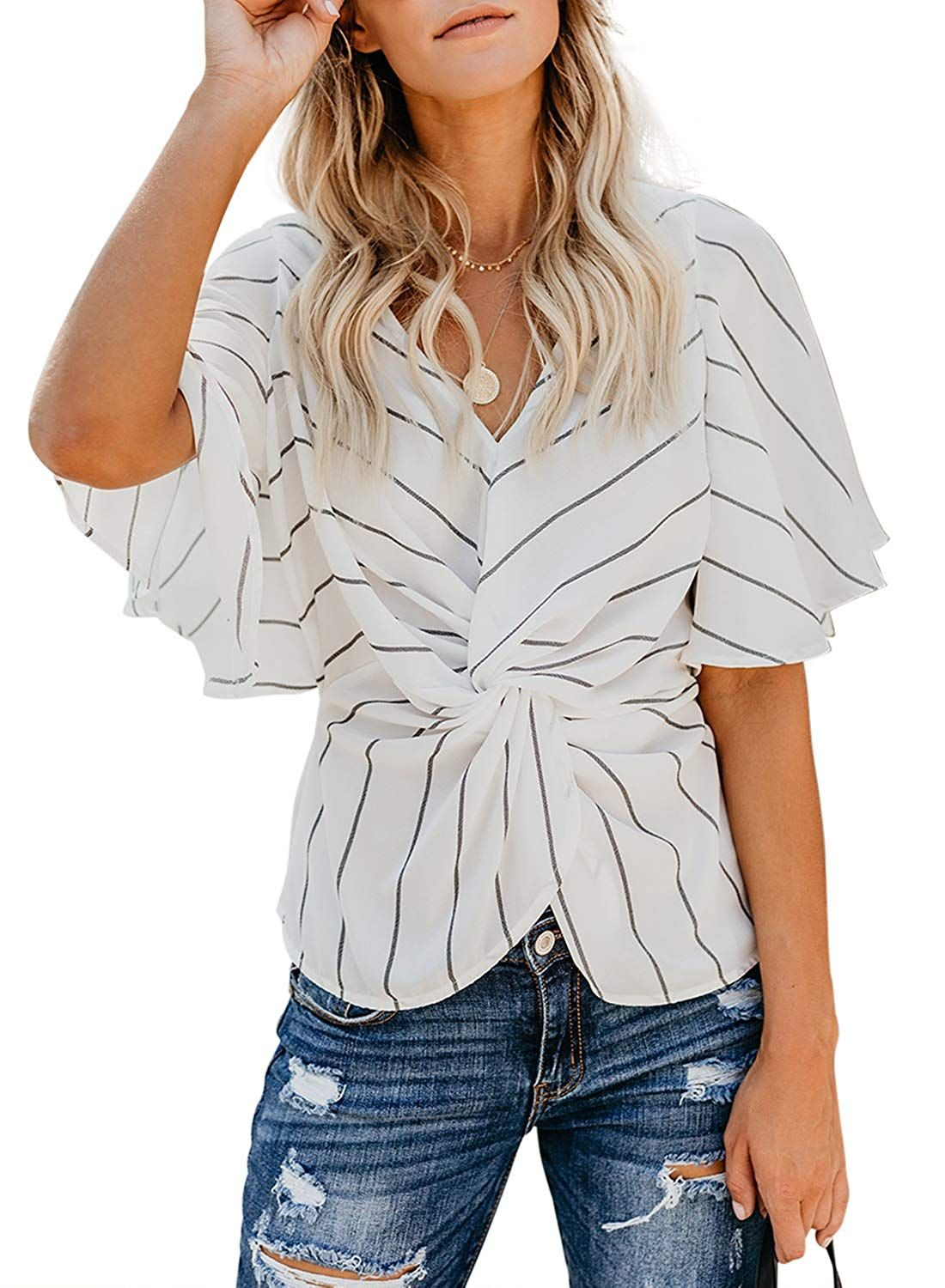 Womens Loose Flared Sleeve V-Neck Boho Tops Chiffon Casual Loose Smock T Shirts