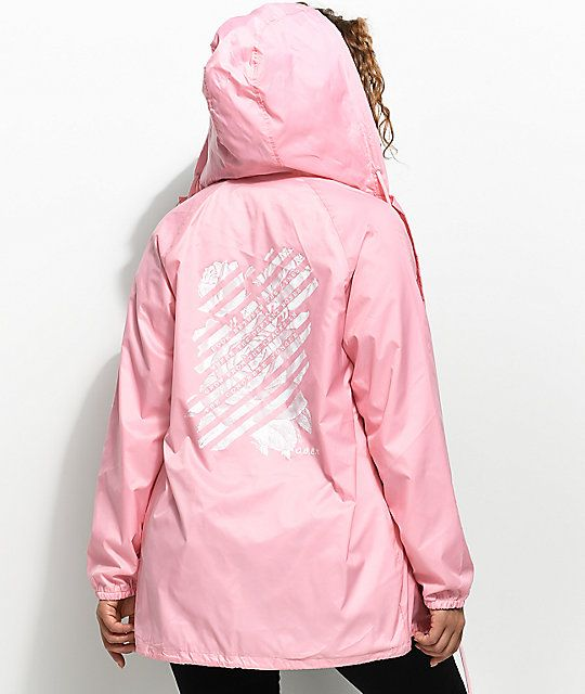 78d9650d5a735 Obey Defiant Rose Light Pink Hooded Coaches Jacket | c o m f y ...
