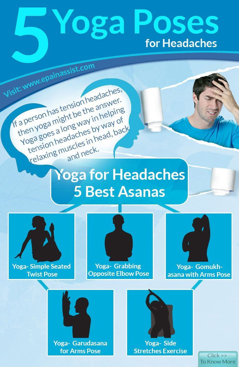 5 Yoga Poses For Headaches Infographic Yoga For Headaches Headache Yoga Information