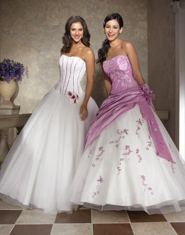 White And Lavender Wedding Dresses