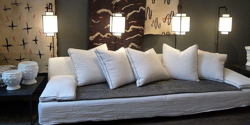 Divan vizir houss de lin sauvage neige chez caravane for Caravane chambre 19 meubles