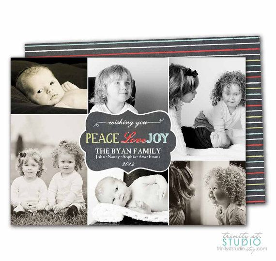 Christmas Chalkboard Photo Collage Card Modern By