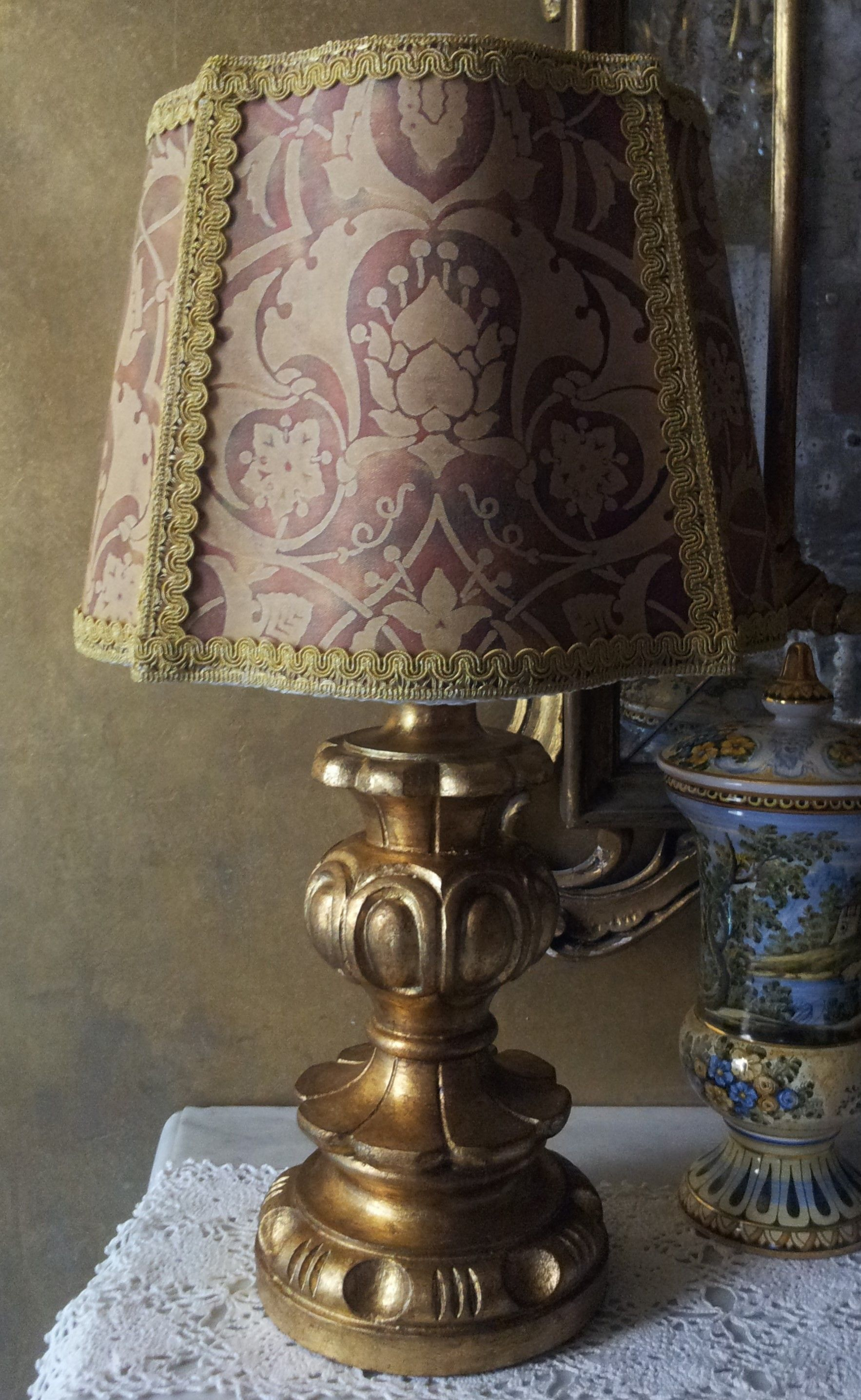 Antique italian gilt carved wood table lamp with fortuny fabric antique italian gilt carved wood table lamp with fortuny fabric lamp shade geotapseo Images