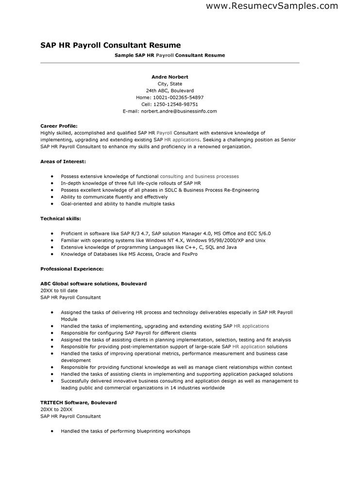 sap hr payroll consultant resume samplejpg 700990 - Sample Sap Resume