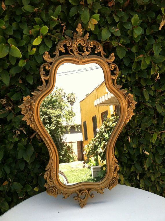 Gold Ornate Mirror Vintage Syroco Wood