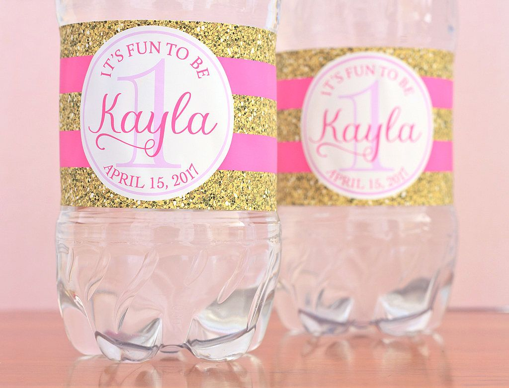 First Birthday Water Bottle Labels - 1st Birthday Party Favors - Fun ...
