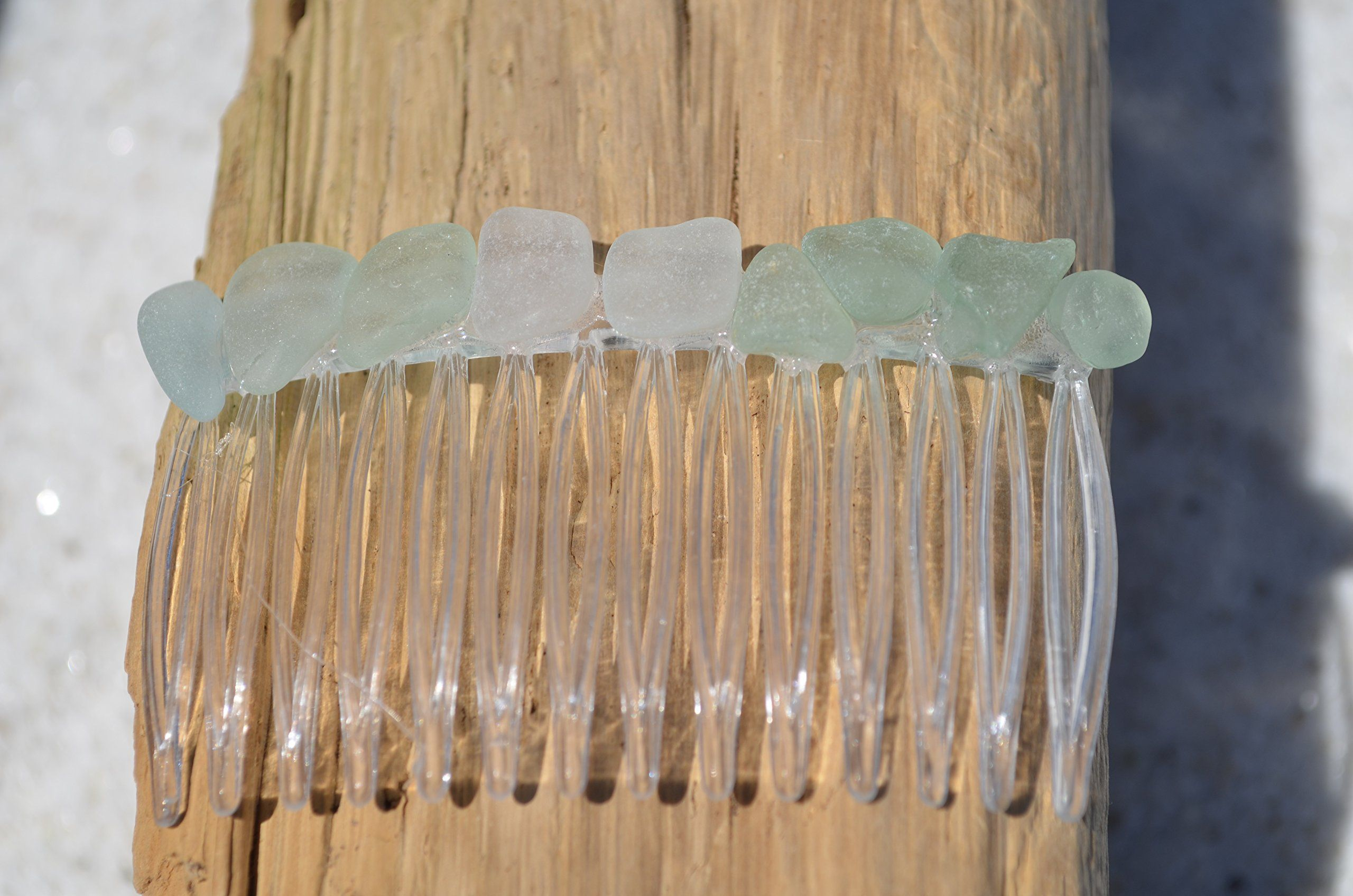 Sea Foam Blue an Aqua Sea Glass Hair Comb For Bride