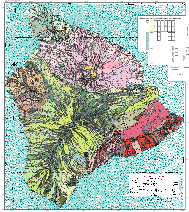 Geological map of the Big Island Hawaii Not simply all basalt