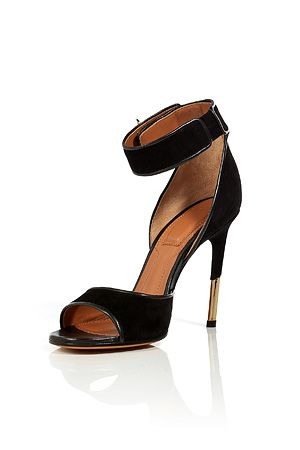 Givenchy- Black Suede Ankle Strap Sandals
