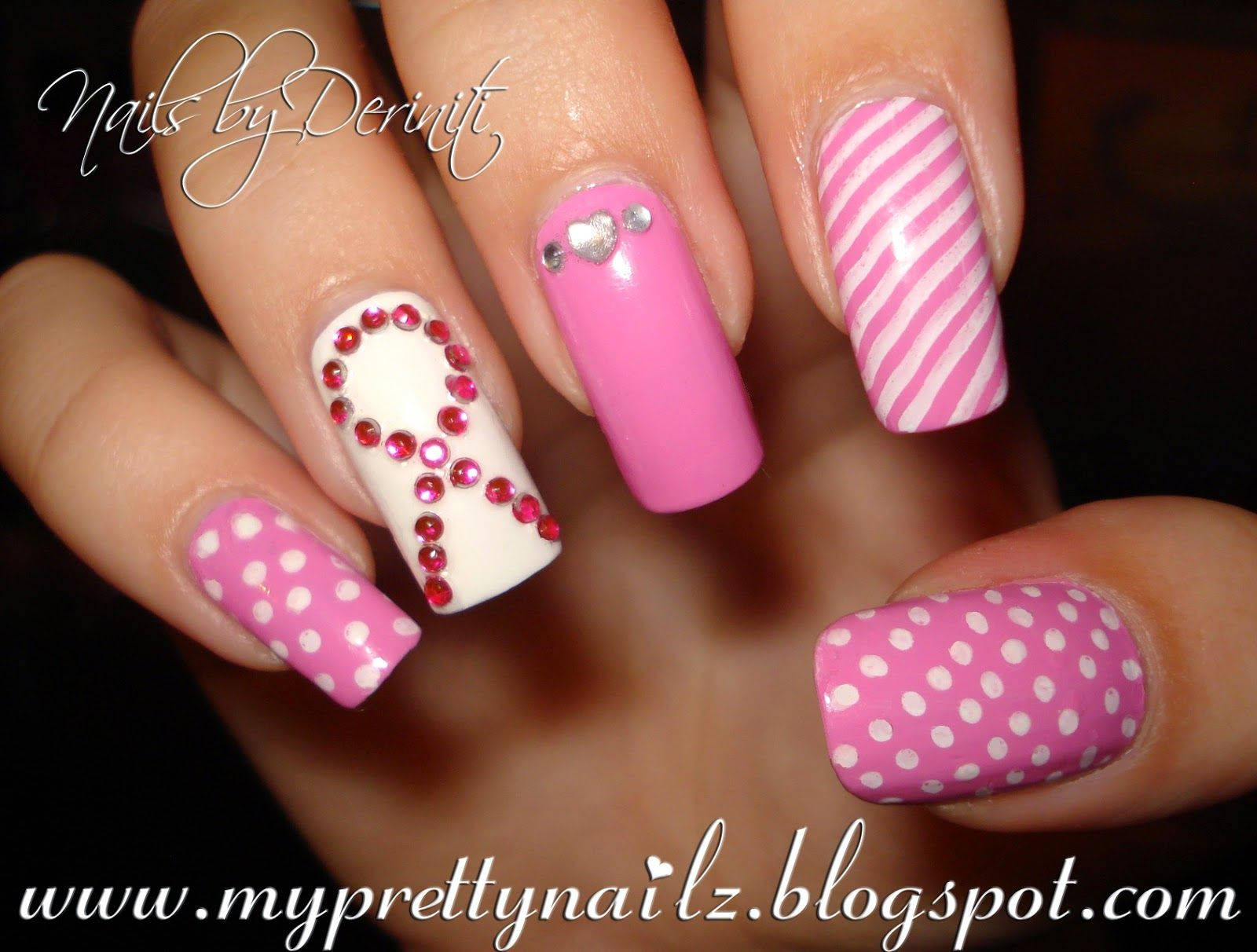 breast cancer nail art design | THINK PINK Breast Cancer Awareness ...