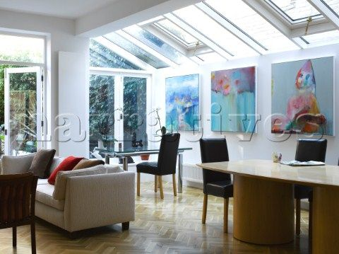 Contemporary Extension Open Plan Living Room And Home Office Area With Skylight Windows