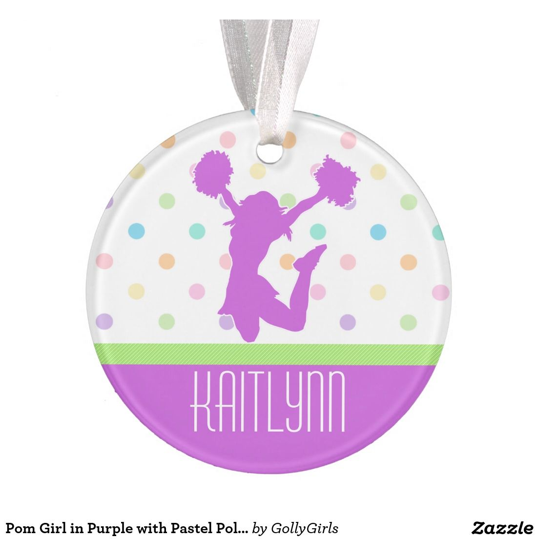 Gymnastics ornament christmas - Pom Girl In Purple With Pastel Polka Dots Light Purple Round Christmas Ornament For