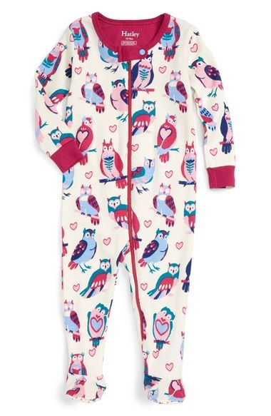 Hatley 'Happy Owls' Fitted One-Piece Footie Pajamas (Baby Girls) available at…