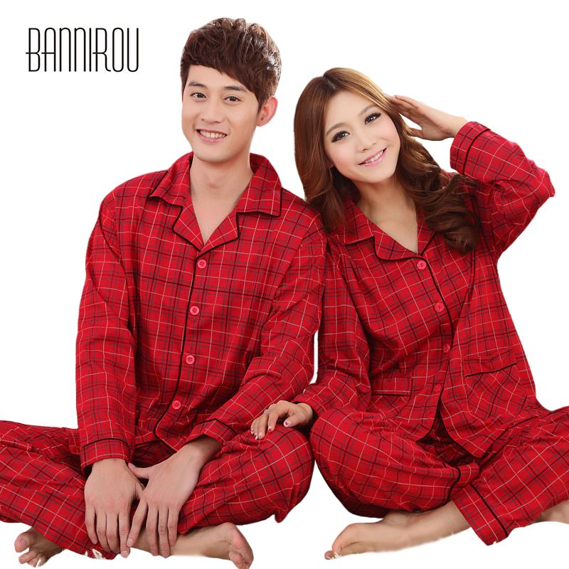 4d17107b6c99f1 Barato Xadrez vermelha Conjuntos de Pijama Casal Correspondência ...