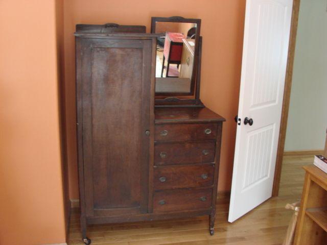 ANTIQUE Chifferobe Wardrobe/ Dresser With Mirror Chicago Wood Bedroom  Furniture - ANTIQUE Chifferobe Wardrobe/ Dresser With Mirror Chicago Wood