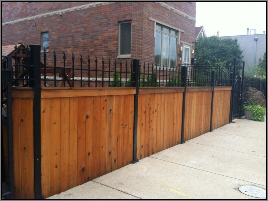 wrought iron and wood fence google search - Home Fences Designs