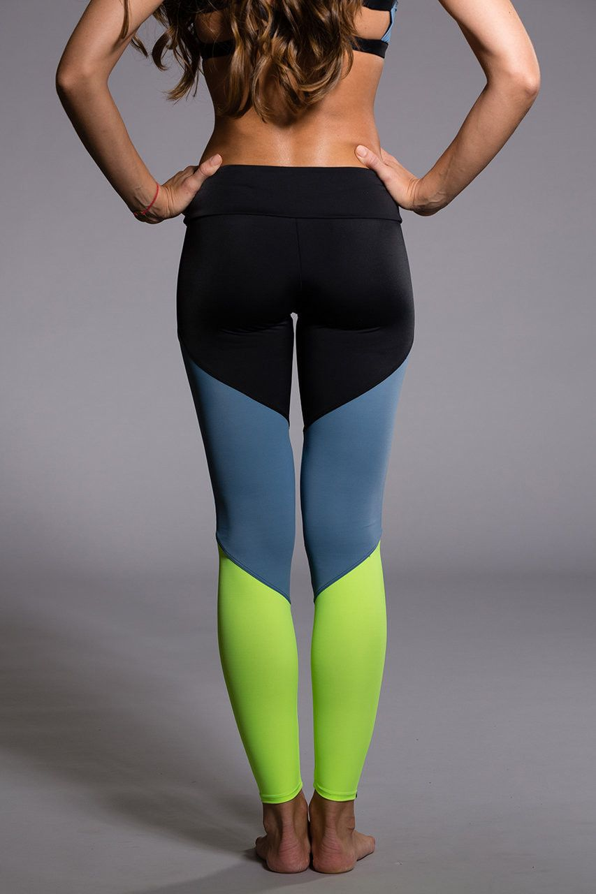 Onzie Track Legging Black Jean Lime Yoga