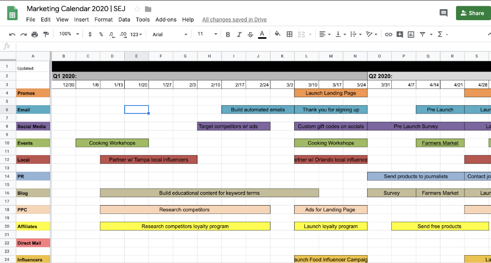 The Ultimate Holiday Marketing Calendar For 2020 Free Templates Marketing Calendar Template Marketing Calendar Marketing Planning Calendar
