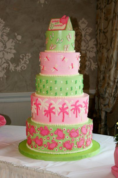 Print and green beachy cake