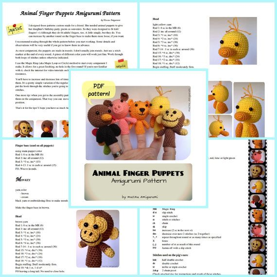 Animal Finger Puppets Amigurumi Pattern | 10 animalitos
