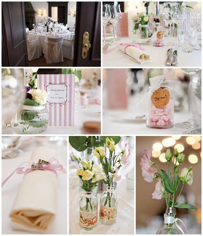 Tischdekoration im Vintage-Style bei Hochzeit auf Schloss ...