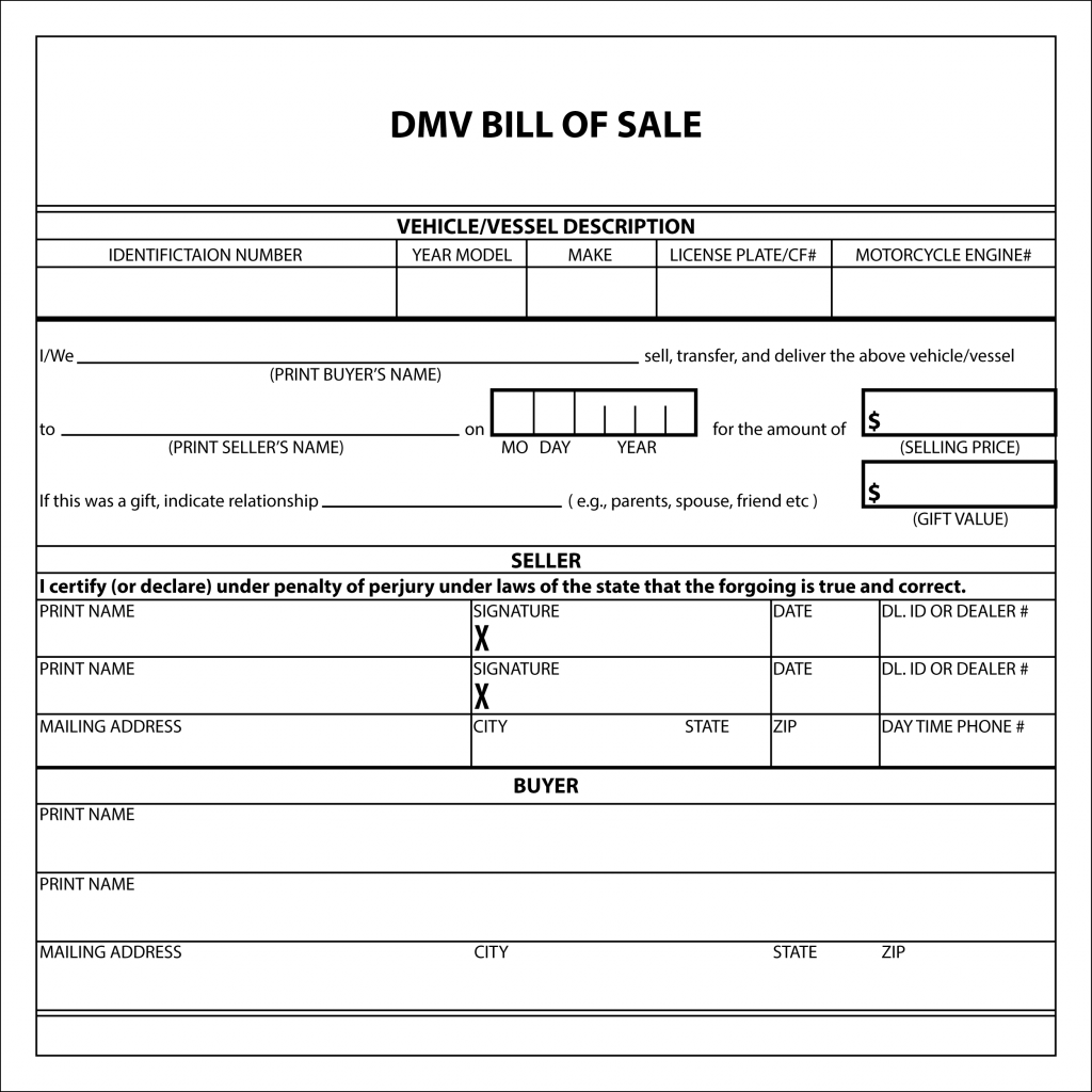 Bill Of Sale Form Template For Car Boat Vehicle Word