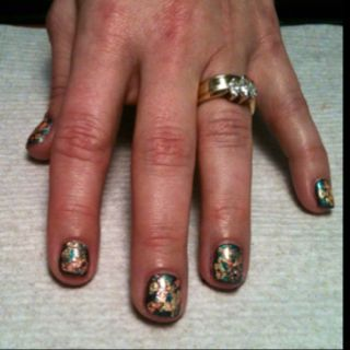 Metallic Nails by Denise with CND Shellac. At Hot Heads Salon in Beaver