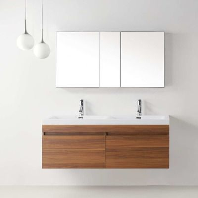 "Virtu Zuri 55"" Double Floating Bathroom Vanity Set & Reviews Enchanting Bathroom Cabinet Reviews Inspiration Design"
