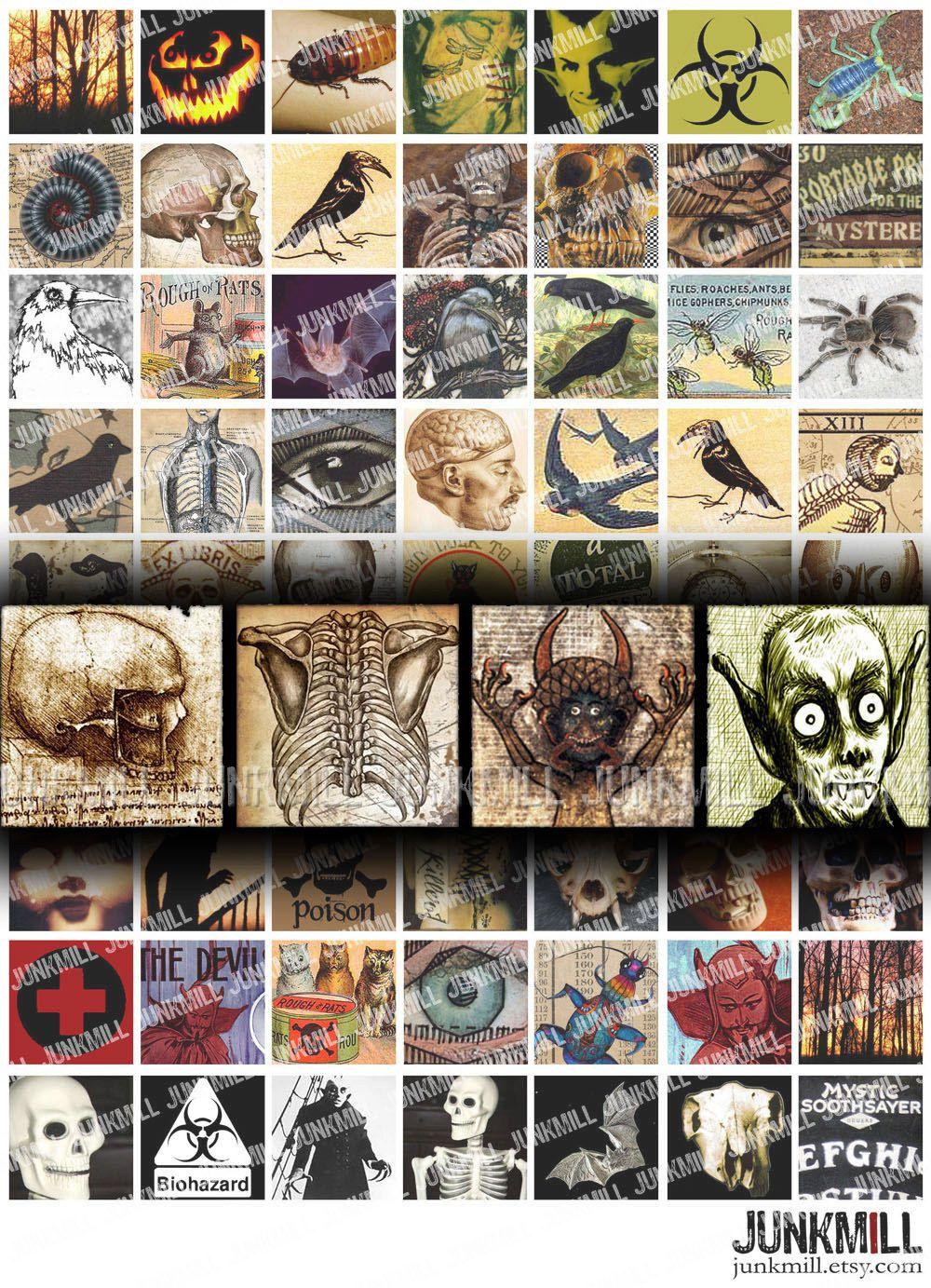 Instant Download Halloween Scrabble Tile Images Halloween Image Pendant Images Halloween Collage Sheet Scrabble Tile Collage Sheet