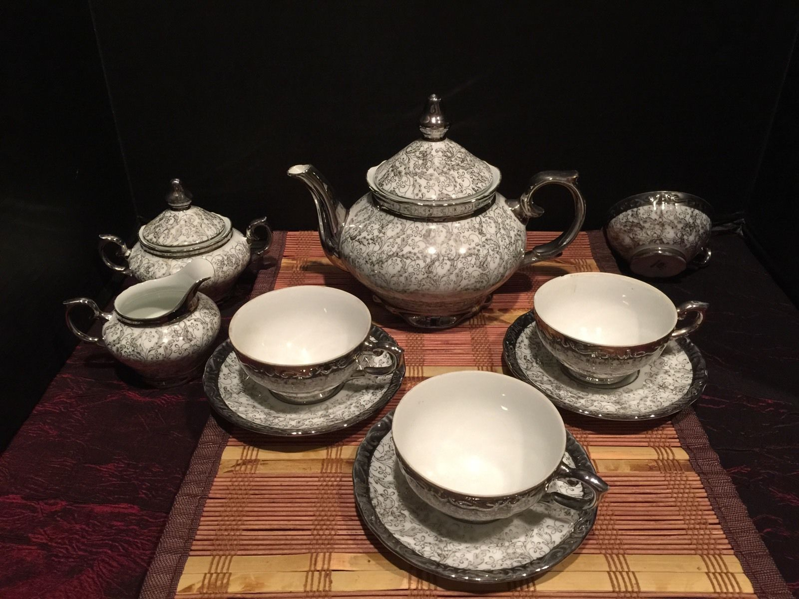 Gorgeous Vintage Silver Porcelain Bavaria Ten Piece Coffee Or Tea Set : bavaria gold plated tea set - pezcame.com