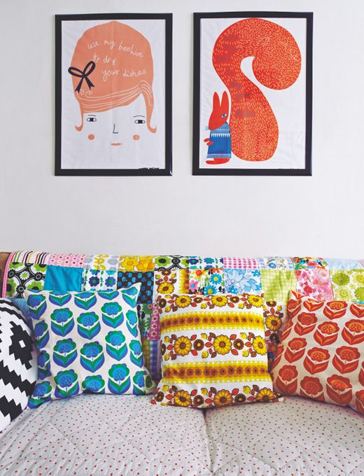 Lovely Bright Patterned Cushions Make A Difference On Plain Neautral Coloured Sofa