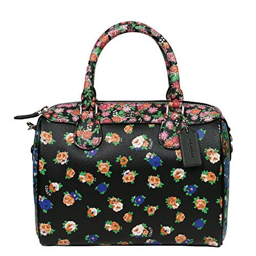 New Coach Leather Handbag Bag Multicolor Floral Black Pink Blue