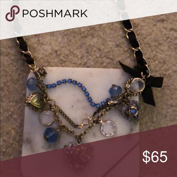 Betsey Johnson short blue heart crystal necklace Betsey Johnson short blue rhinestone heart necklace Betsey Johnson Jewelry Necklaces