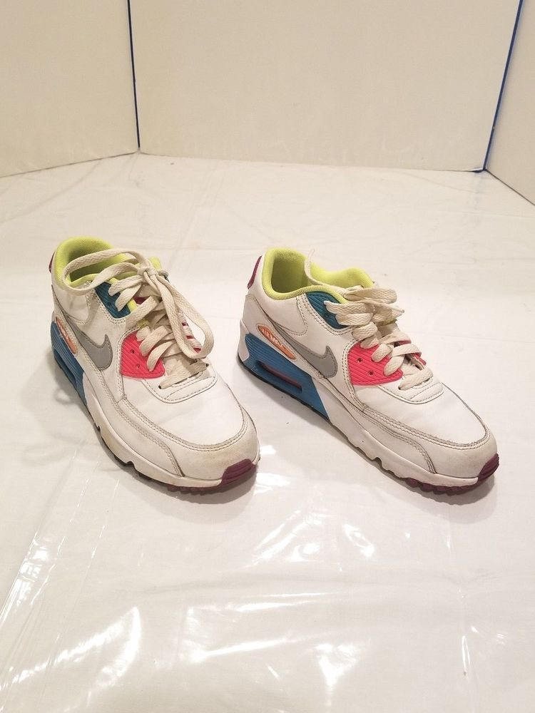 179a6ce14f4d NIKE AIR MAX 90 LEATHER 833376 102 WHITE WOLF GREY-BLUE US SIZE 4.5 Youth   Nike  Athletic