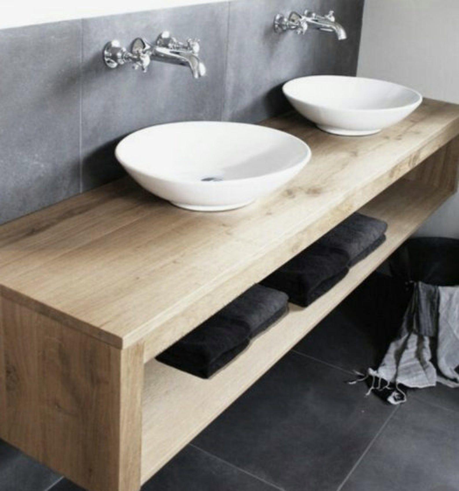 Double Shelf Floating Vanity Solid Hardwood With Zero Etsy Floating Bathroom Vanities Floating Vanity Floating Shelves
