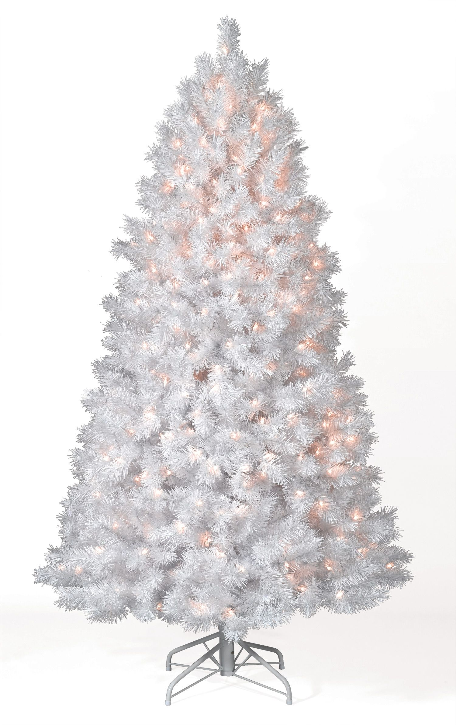 Superior 8 Foot Shimmering White Artificial Christmas Trees With Multi Lights