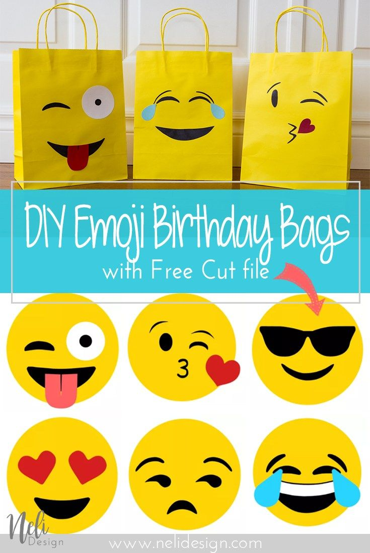 How To Make Emoji Party Bags And Free Template Nelidesign Emoji Diy Emoji Party Emoji Birthday Party
