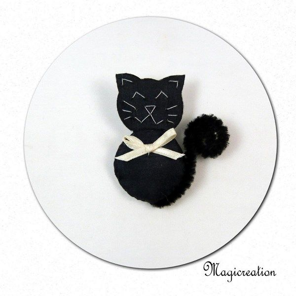 broche chat noir noeud crème - Boutique www.magicreation.fr