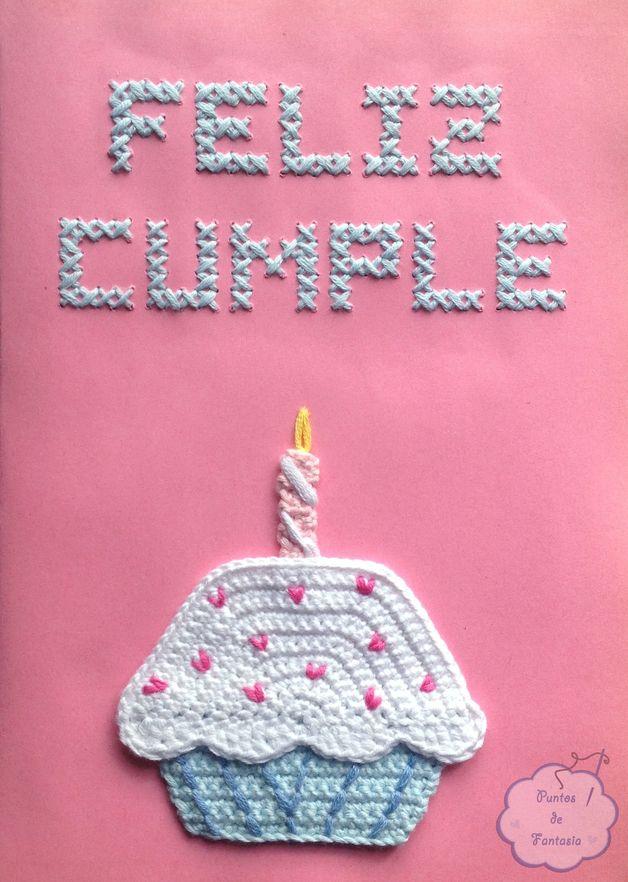 Tarjetas de felicitación - Tarjeta de cumpleaños bordada - hecho a mano por  PuntosDeFantasia en DaWanda f7cfba1924b