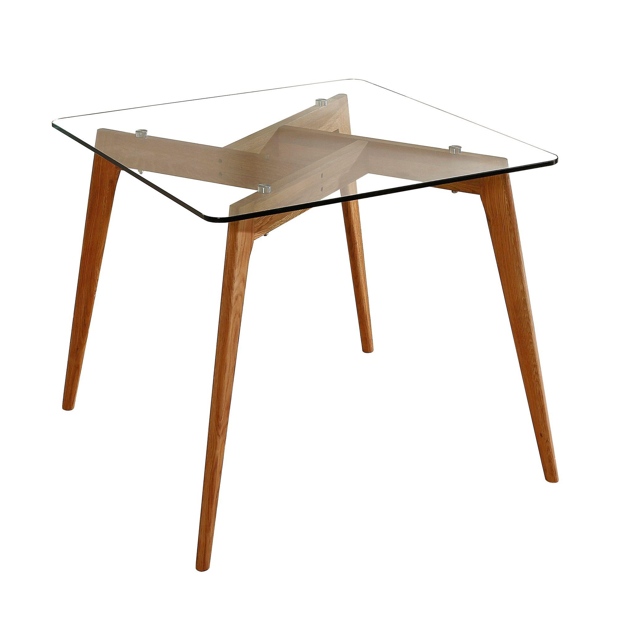 Pour 2 ou pour 4 tr s tendance cette table qui mixe le verre et le bois avec une forme for Table a manger originale