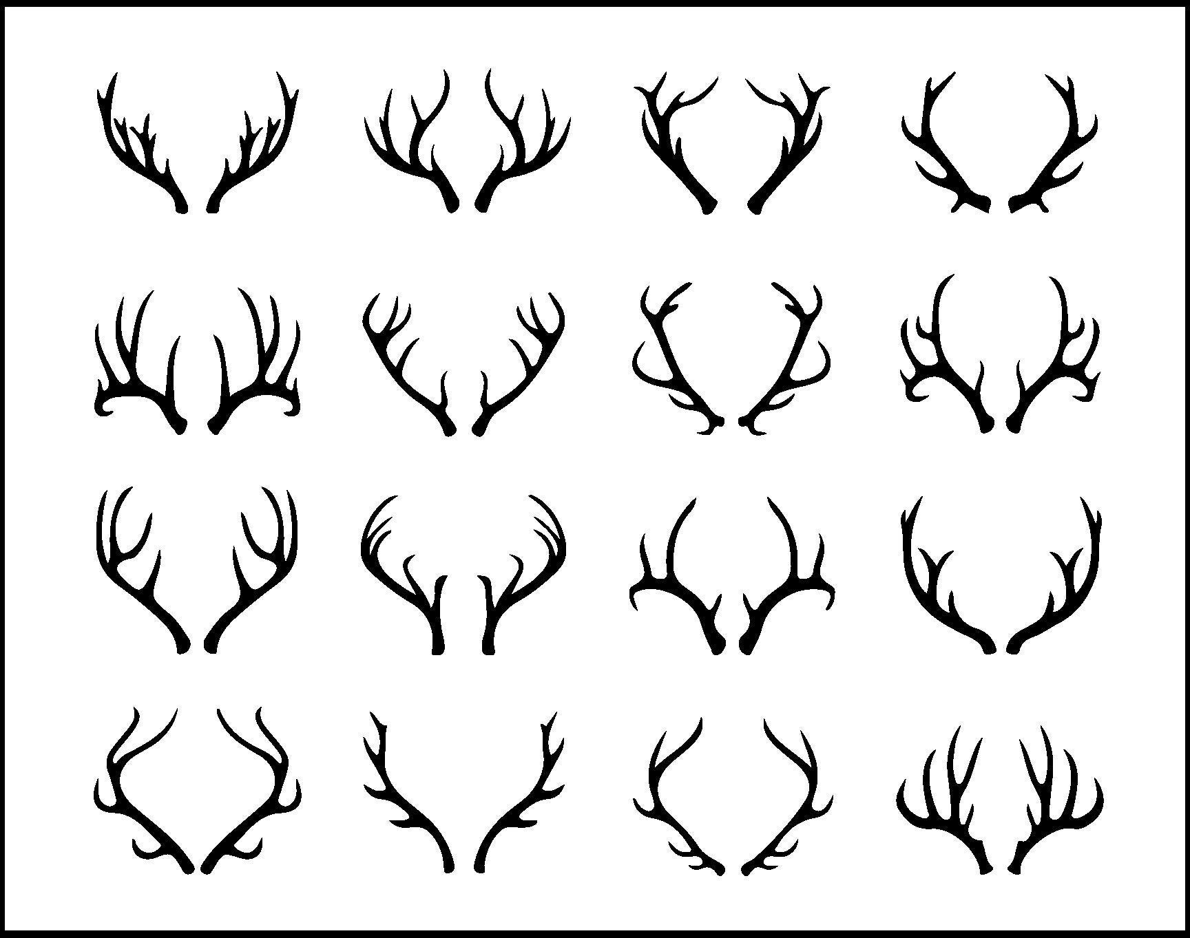 Antlers Svg Bundle Deer Antlers Svg File For Cricut Antler Design Elements Vector Image Clip Art Png Dxf Esp Deer Horns Silhouette Antler Tattoos Deer Skull Tattoos Stag Tattoo