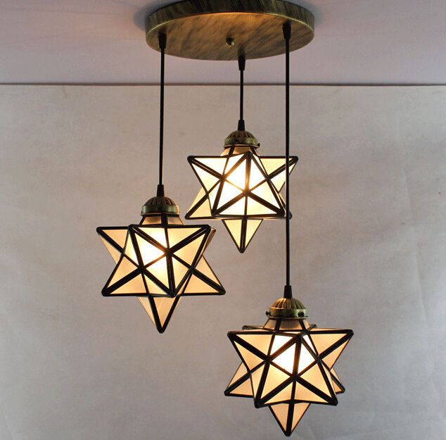 3 Lights Round Base Moravian Star Chandelier Lighting Iron Art