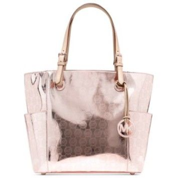 318926e337f5 Michael Kors East West Signature Metallic Leather Tote. Rose Gold Tote Bag    Totes on Sale at Tradesy