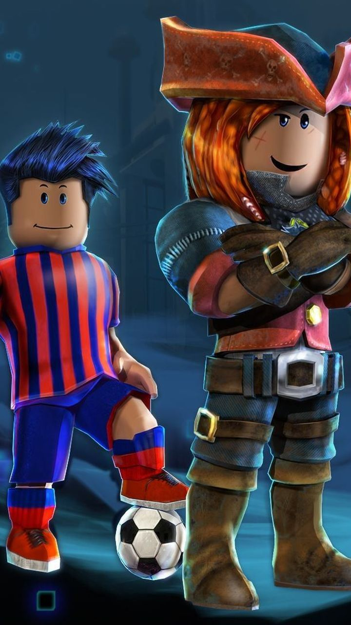 A Roblox super hero with a footballer, mobile background